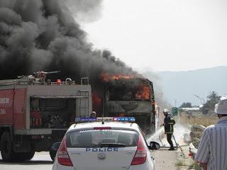 Φωτιά στην Εγνατία σε λεωφορείο του ΚΤΕΛ