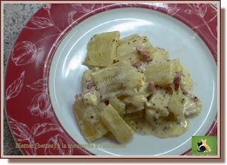 Vie quotidienne de FLaure : Blettes (bettes) sauce à la moutarde à l'ancienne, feta et bacon