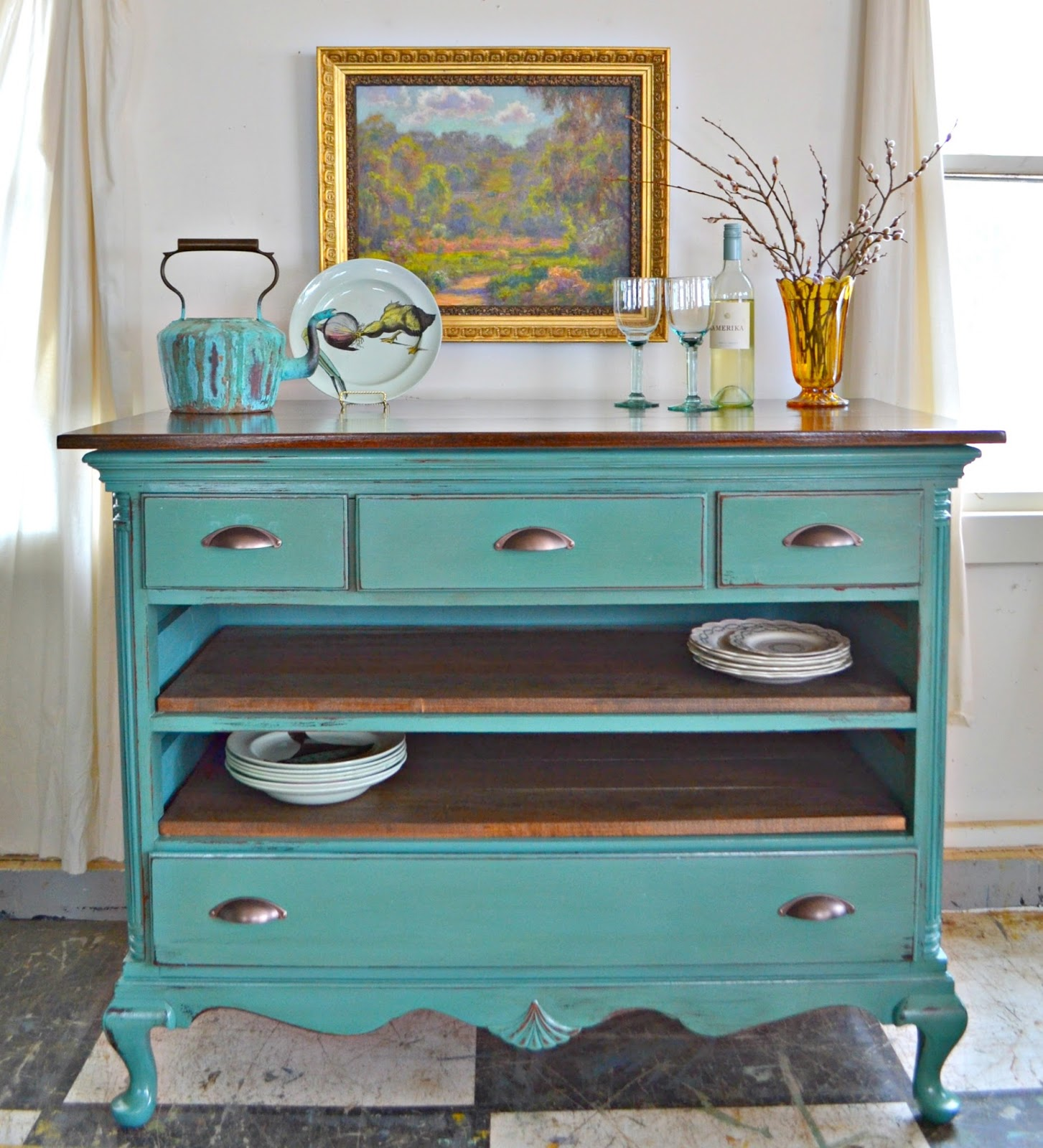 Heir and Space: A Vintage Mahogany Dresser Turned Kitchen Island