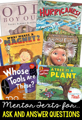 Primary informational mentor text suggested book list for ask and answering question- teaching questioning and inference skills- RI.1.1, RI.2.1, RI.3.1
