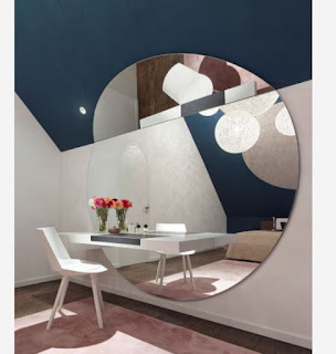 minimalist dressing table design with large round mirror for modern bedroom interior