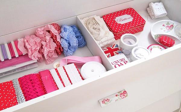 organised craft supply drawers