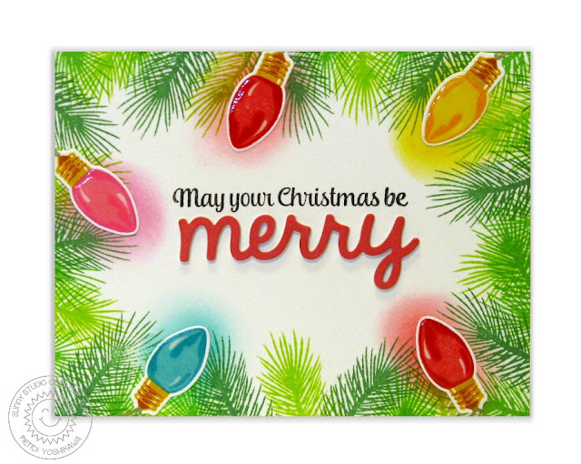 Sunny Studio Stamps: Merry Sentiments & Holiday Style Card by Mendi Yoshikawa