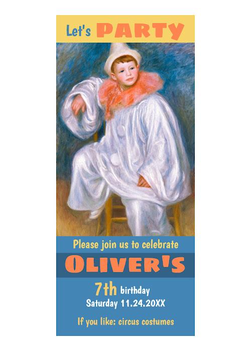 Circus birthday theme CC1067 Renoir White Pierrot Invitation