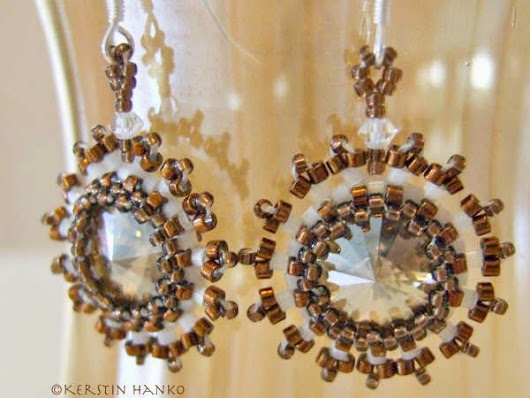 "Earrings with Swarovski® rivolis ""surrounded"" by bronze and matte white Delica beads"