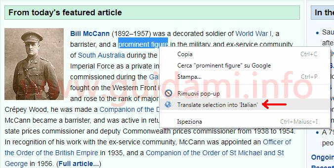 Menu contestuale Chrome opzione traduzione estensione Translate Selected Text