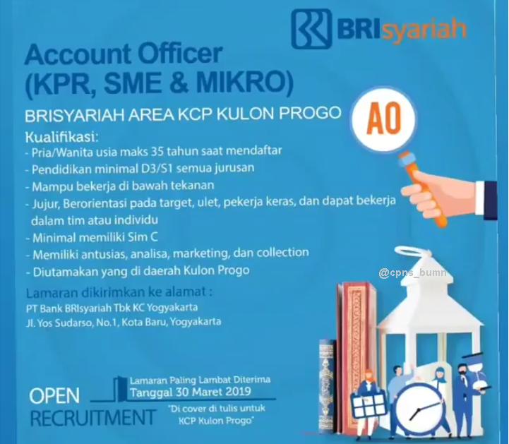 Lowongan Kerja Account Officer PT Bank BRI Syariah TBK D3 S1 Semua Jurusan