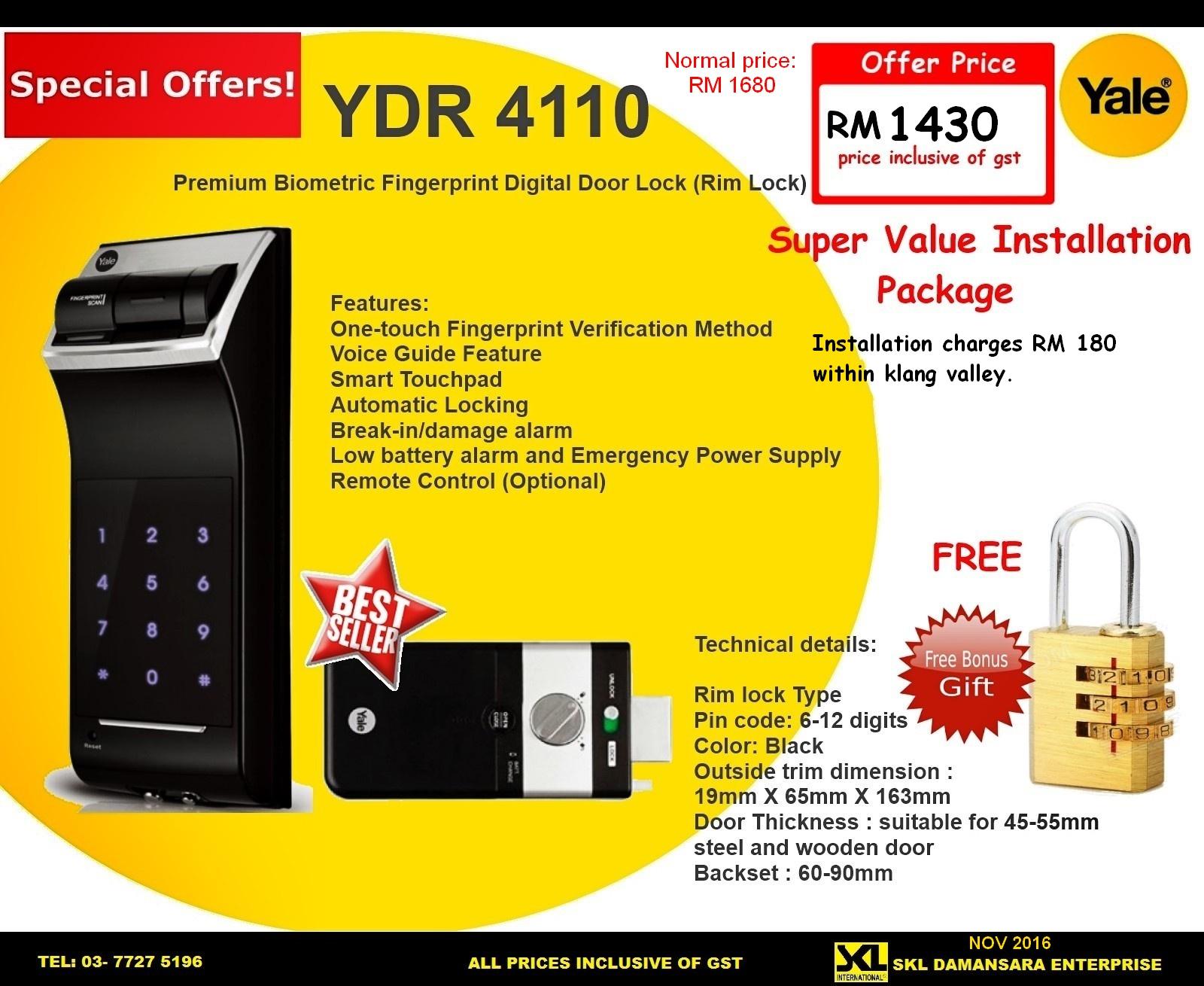 Skl Diy Uptown Yale Ydr 4110 Digital Door Lock Promotino