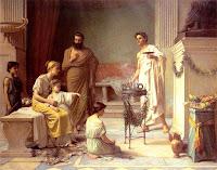 Waterhouse, J. W.  Un niño enfermo en el templo de Esculapio (1877)