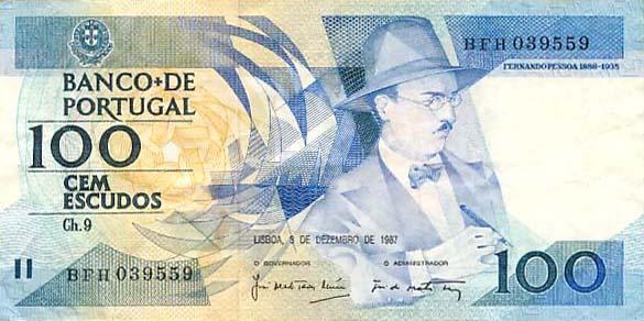 ... da Nota de 100 escudos do Fernando Pessoa