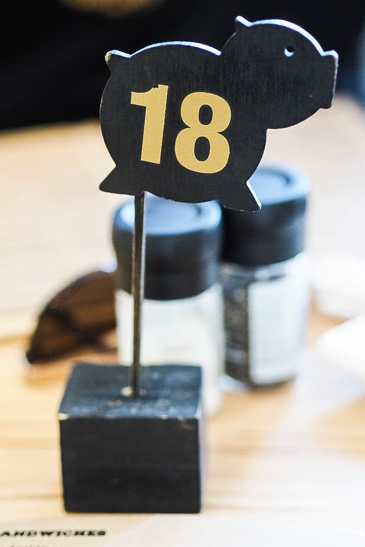Pig shaped table number