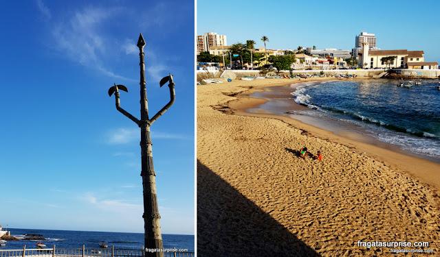 """""""Cetro da Ancestralidade"""", escultura de Mestre Didi, e a Praia do Rio Vermelho, onde se celebra a Festa de Iemanjá"""