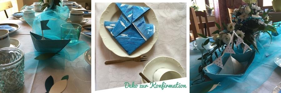 Tischdeko selbsgemacht zur Konfirmation, für einen Jungen, Blau, Türkis, Grün, Weiß