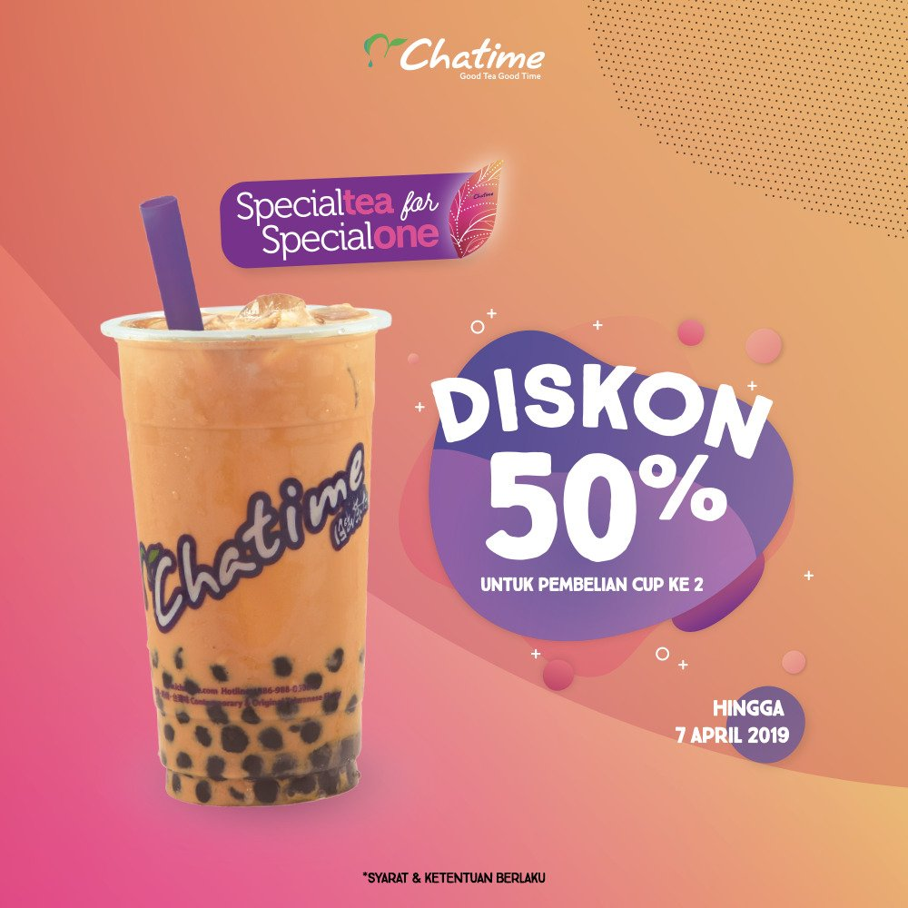 #Chatime - #Promo Member Diskon 50% Chatime Thai Tea Series (s.d 07 April 2019)