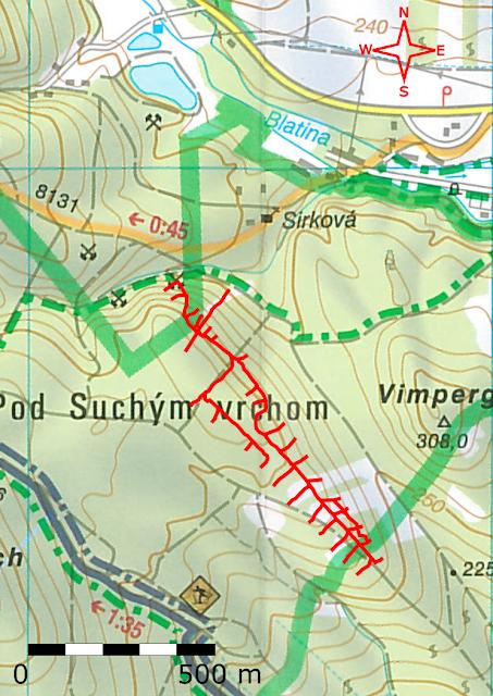 mapa štôlne Sirková