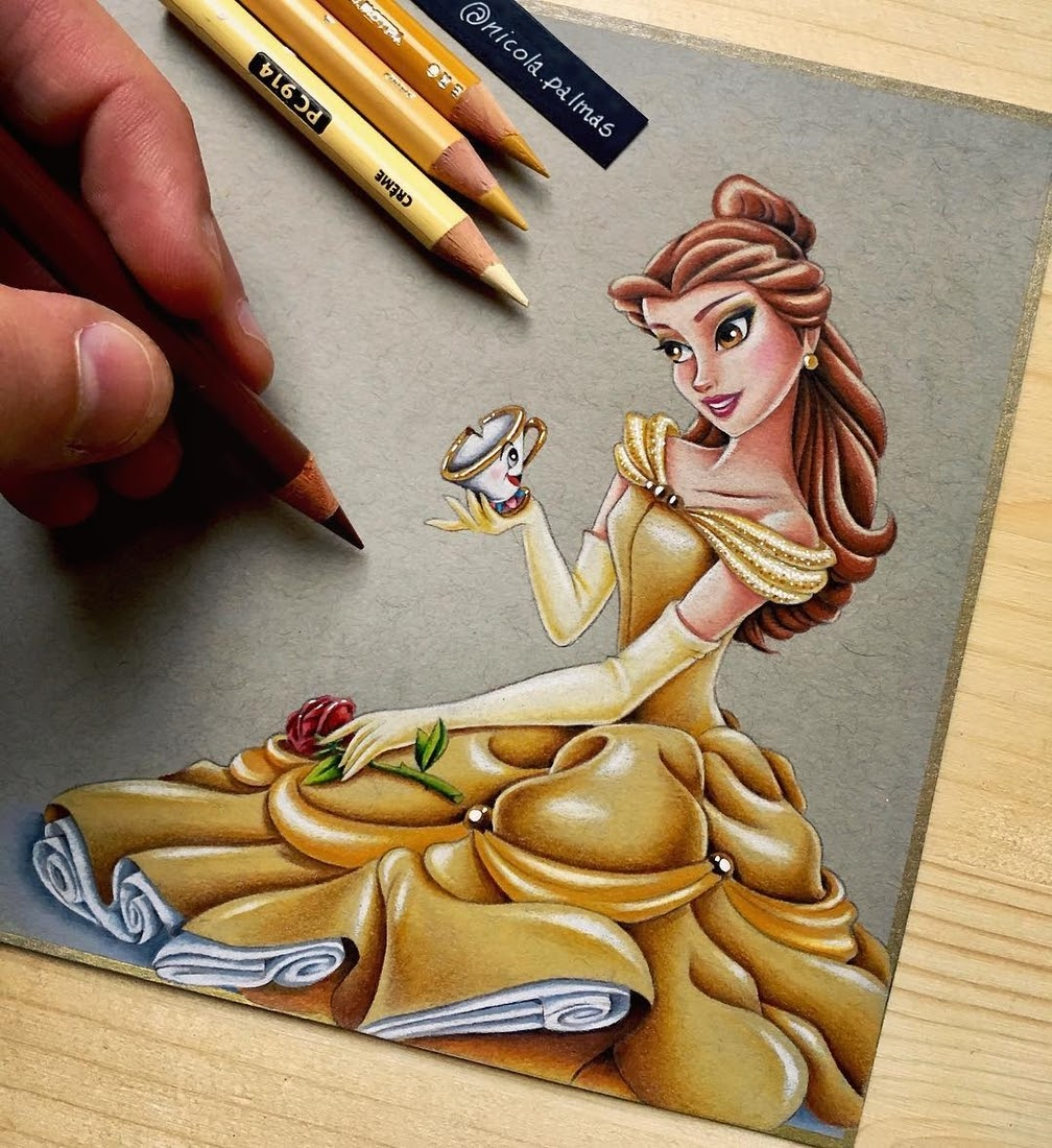 08-Belle-and-Chip-Beauty-and-the-beast-Nicola-Palmas-Walt-Disney-Characters-Art-Illustrations-www-designstack-co