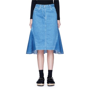 Sacai 'Runway' raw edge denim flare skirt, $605 from Lane Crawford