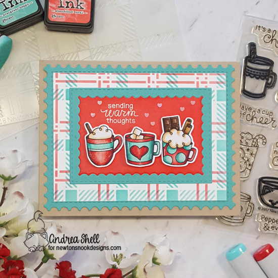 Warm Thoughts and Warm Mugs Card by Andrea Shell | Cup of Cocoa Stamp Set and Plaid Stencil Set by Newton's Nook Designs #newtonsnook #handmade