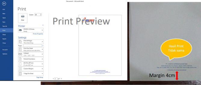 Print Preview, Hasil Print Tidak Sesuai Margin Settingan
