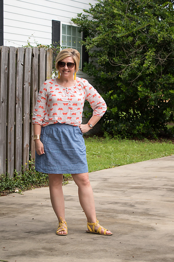 butterfly print top with chambray skirt