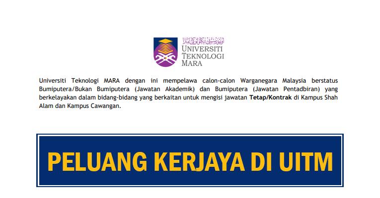 Peluang Kerjaya Terkini di Universiti Teknologi MARA UiTM