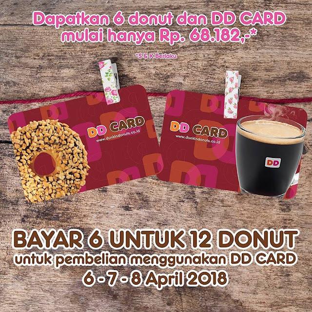 Promo DUNKIN DONUTS Terbaru Bayar 6 Untuk 12 Donut Periode 06 - 08 April 2018