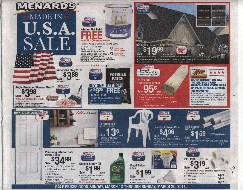 Menards, a supplier of appliances, renovation materials, home decor and many more essentials, offers you multiple ways to save. Sign up online, and you'll receive promotional offers and weekly flyers for their in-store locations%().