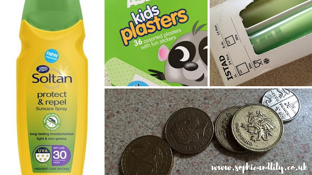 handy items for road trips: sun cream, money in currencies you require, plasters and sandwich bags