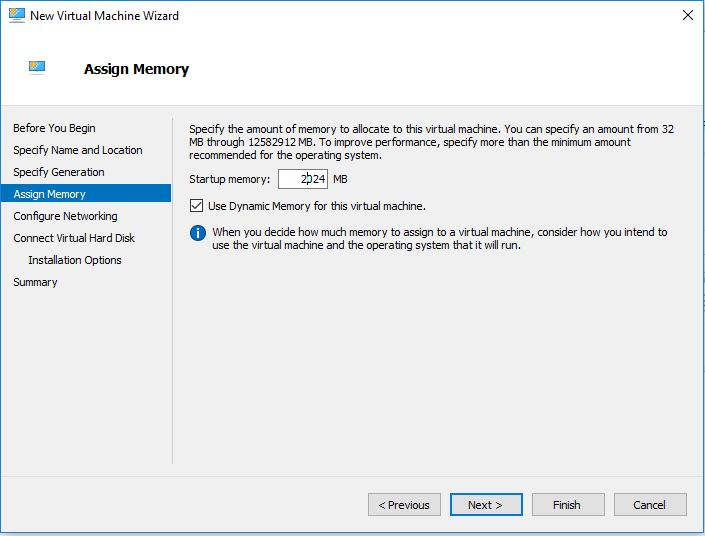 amount of ram assign to Hyper-V virtual machine