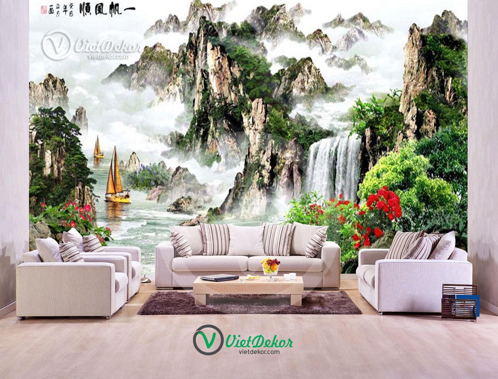 Tranh 3d thác nước và núi