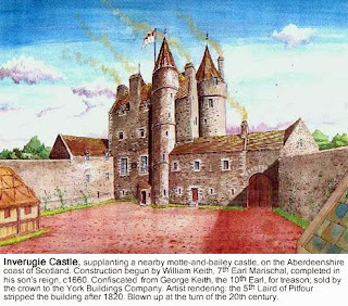 Reconstruction watercolor, Inverugie Castle by Andrew Spratt.