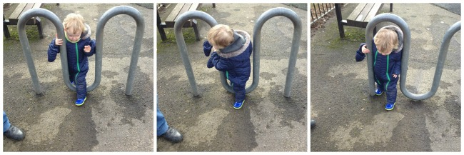 three pictures of a toddler walking through and under a metal frame