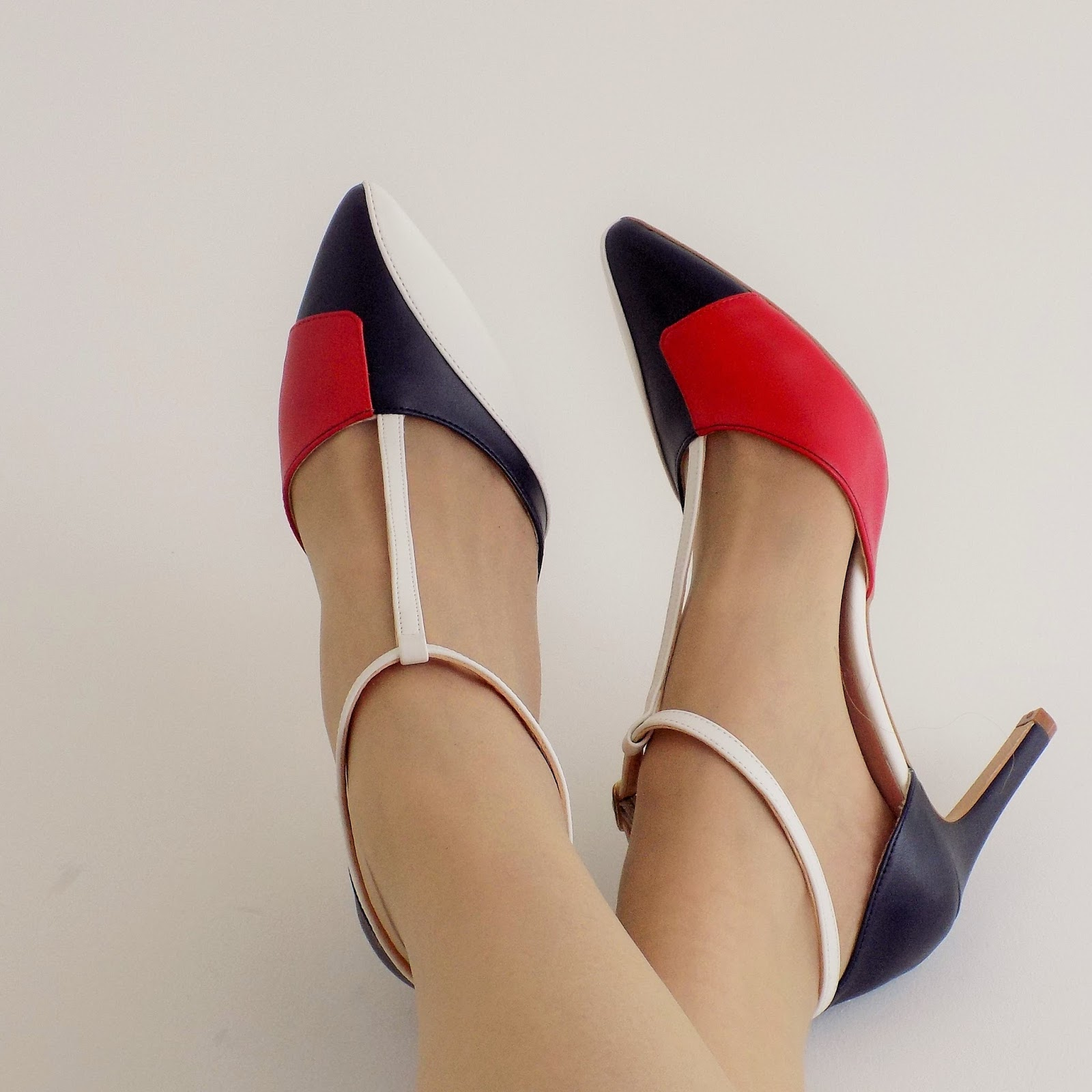 Red, white and blue colourblock shoes by Kaleidoscope