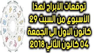 توقعات الأبراج لهذا الأسبوع من السبت 29 كانون الاول الى الجمعة 04 كانون الثاني 2018