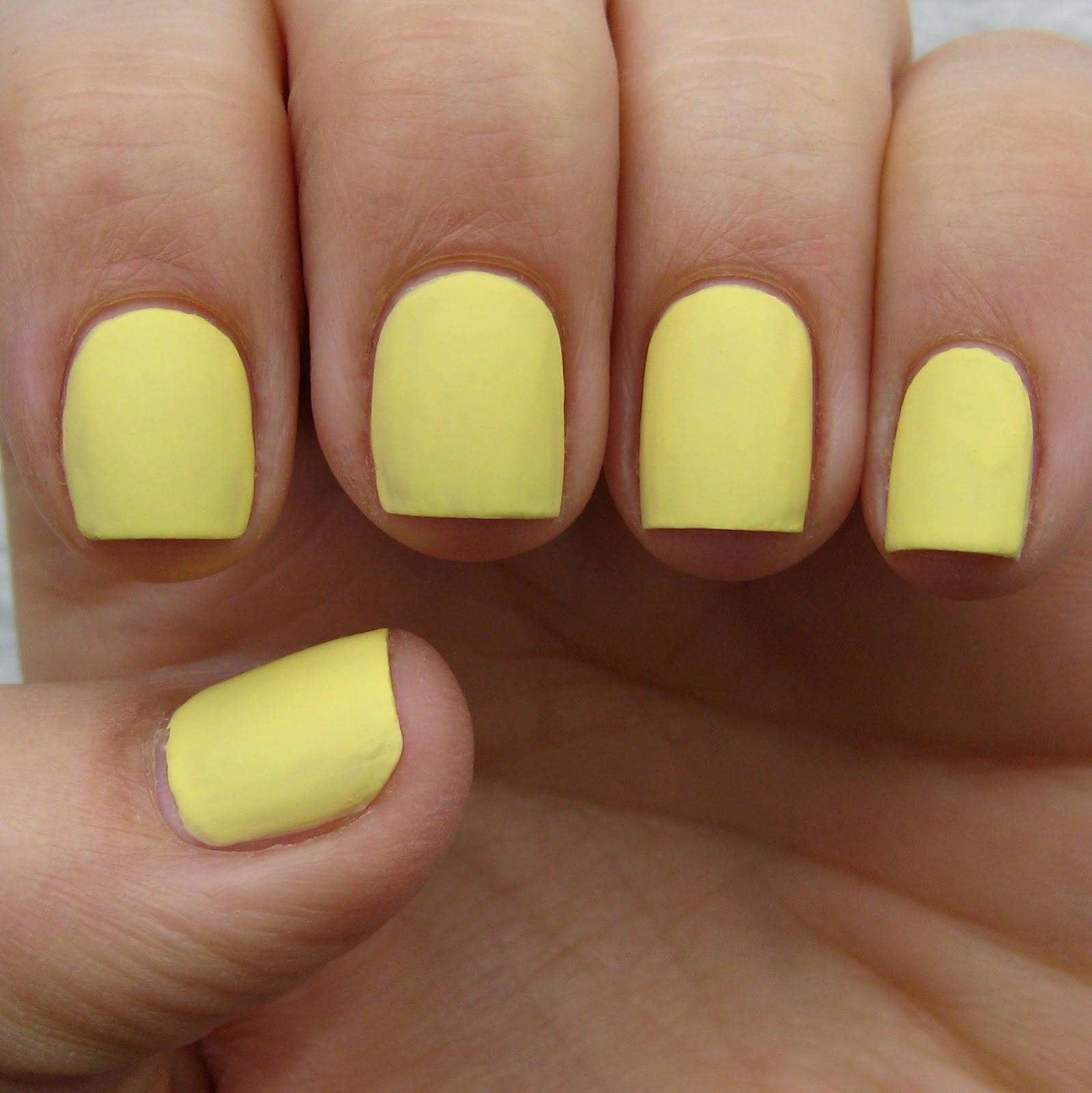 yellow matte nails - photo #14