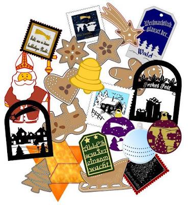 Collage mit verschiedenen Plottmotiven wie Lebkuchenfiguren, Silhouetten und Geschenkanhängern