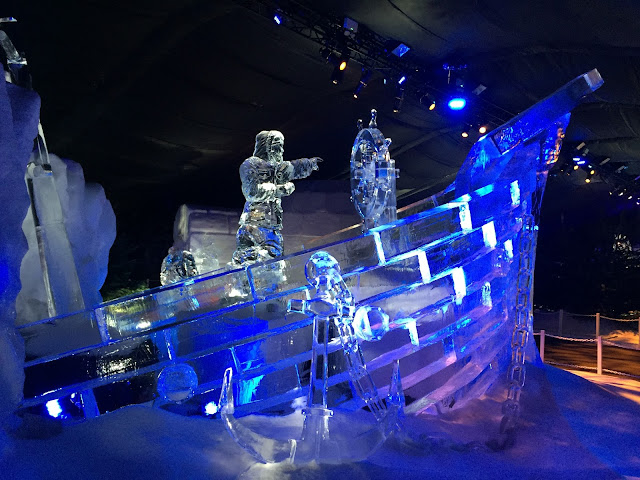Magical Ice Kingdom boat sculpture