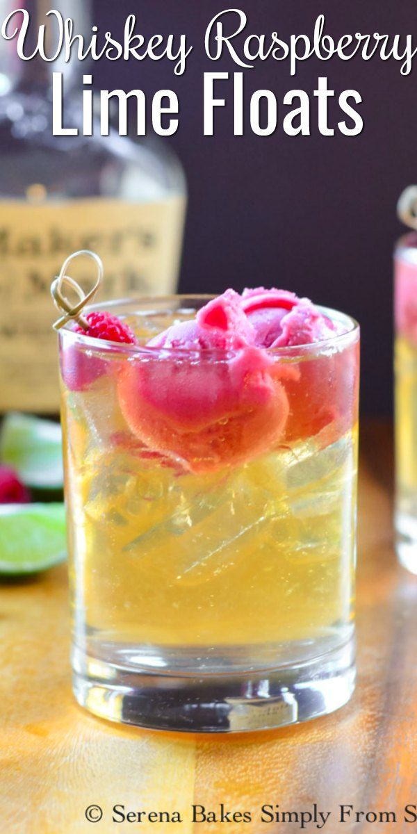 Whiskey Raspberry Lime Floats are a refreshing summertime cocktail.