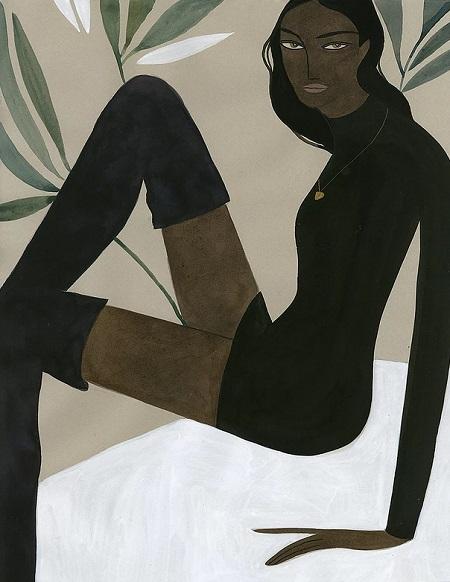 Kelly Beeman arte | dibujo en acuarela de mujer elegante en mini vestido negro y botas largas
