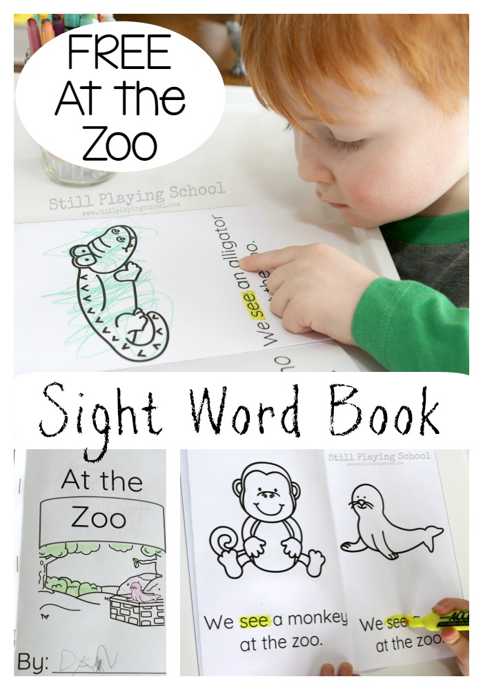 image regarding Sight Word Book Printable identify Zoo Emergent Reader Sight Term E-book Even now Taking part in Higher education