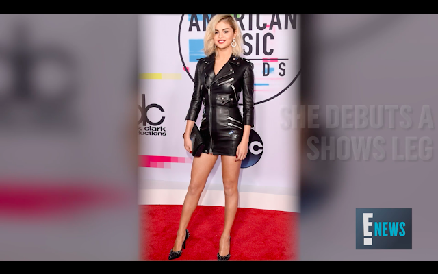 Selena Gomez blonde hair black leather dress heels 2017 american music awards