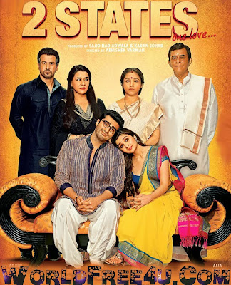 Poster Of Hindi Movie 2 States (2014) Free Download Full New Hindi Movie Watch Online At worldfree4u.com
