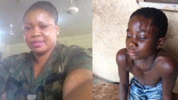See How A Female Soldier Brutalize Her Househelp In Lagos