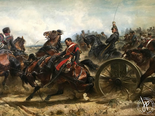 painting of horses and war