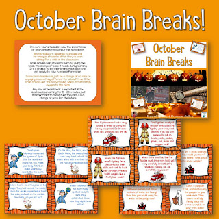 Almost October? Time for some freebies: Here are 5 different freebies with an October theme, including brain breaks, task cards, counting, phonics, and informational text!