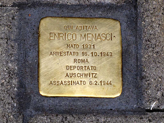 Stolperstein, stumbling block, remembering Enrico Menasci, Livorno