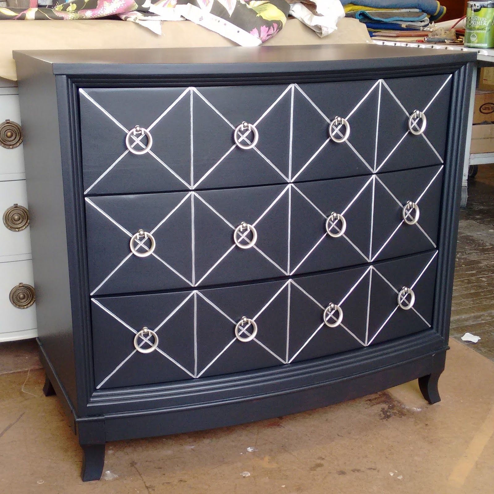 Sydney Barton Painted Furniture Black And Silver Chest With Ring Pulls