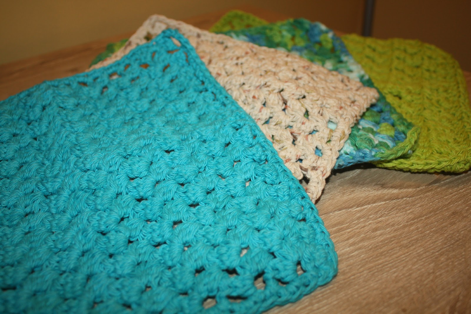 Crochet Dish Cloths Wash Rags Pattern Double Cluster Stitch