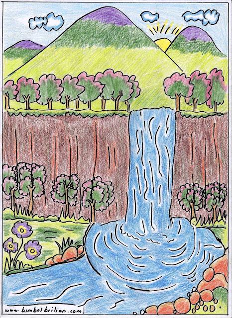7. Gambar Air Terjun dan Pegunungan