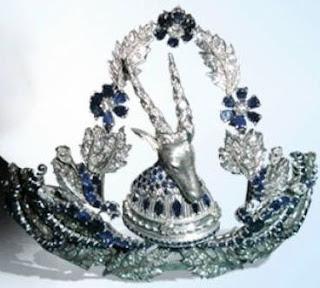 queen geraldine albania sapphire diamond tiara ram goat